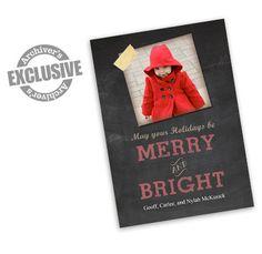 Merry & Bright Chalkboard 4x6 Christmas Photo Card