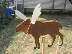 Handmade Wooden Moose shaped whirligigs for your yard by tomscraftcastle on Etsy