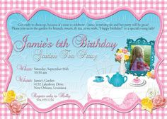 Elegant Tea or Garden Party birthday invitation (could also be used for bridal or baby showers)