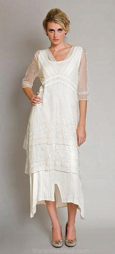 Ivory Nataya Vintage Style Romantic Victorian Wedding Titanic Tea Lenght Dress AL-5901