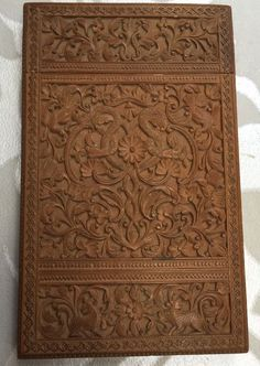 Stunning Antique Anglo Indian Carved Sandalwood Card Case Beautiful Quality Old Indian Furniture, Wood Carvings, Paper Mache, Card Case, Amber, Cherry, Objects, Antiques, Beautiful