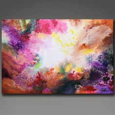 A beautiful image like the remnants of a supernova giving birth to a new star system.  The original painting is 24x36 inches.    The original painting is sold; you can order prints here