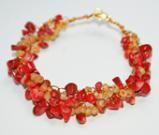Red Coral Wire Crochet Bracelet: Beaded Crochet Wire Bracelet With Red Coral Chips