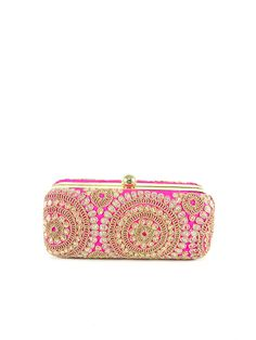 Rectangular clutch bag done with beautiful gold embroidery. A gold colored metal frame surrounds the bag and is finished with a clasp lock. The interior is lined in soft and smooth fabric to complemen