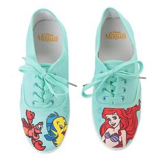 Disney The Little Mermaid Mint Character Lace-Up Sneakers Hot Topic ($18) ❤ liked on Polyvore featuring shoes, sneakers, mint green sneakers, lace up shoes, lacing sneakers, mint sneakers and disney sneakers