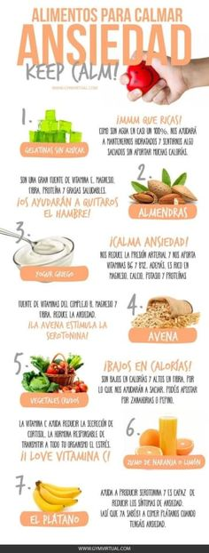 ALIMENTOS PARA CALMAR LA ANSIEDAD Anxiety shines when one is very nervous about something that torments him, produces dizziness, choking and headache, excessive hunger, or a knot in the stomach to those who are closed. Weight Loss Meals, Healthy Tips, Healthy Snacks, Healthy Recipes, Gelatina Light, Nutrition Education, Nutrition Classes, Nutrition Activities, Natural Medicine