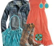 Inspiring picture combinations, coral, cowboy boots, fashion. Resolution: 554x554 px. Find the picture to your taste!