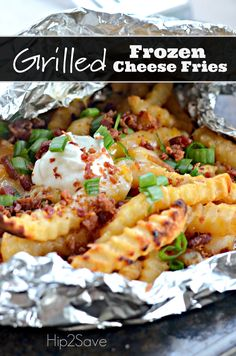 Easy Grilled Frozen Cheese Fries - This recipe is perfect for camping, tailgating, and/or just watching football games at home. Tailgating Recipes, Grilling Recipes, Cooking Recipes, Grill Meals, What's Cooking, Drink Recipes, Beef Recipes, Dessert Recipes, Desserts