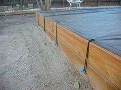 tarp ties on sandbox by Giltronix, via Flickr Kids Yard, Backyard For Kids, Backyard Projects, Build A Sandbox, Kids Sandbox, Sandbox Diy, Sandbox Ideas, Backyard Playset, Backyard Playground