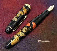 Photo1: PLATINUM #3776 KAGA MAKIE Poppy Body Gold Accents 18K Gold Nib All Nib Sizes Fountain Pen *LIMITED EDITION* (1)