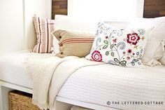 Reading Room Redo | The Lettered Cottage Burlap Pillows, Bed Pillows, Ikea Pillow, Cushions, Pillow Fabric, Lumbar Pillow, Bedroom Nook, Upstairs Bedroom, Master Bedroom
