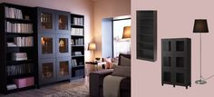 Here is the cabinet piece I was telling you about for the office maybe...  BESTÅ cabinet with tempered glass doors and BILLY bookcases all in black-brown