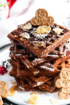Easy Festive Gingerbread Waffles recipe - The perfect Christmas breakfast/brunch dish with molasses, buttermilk, and minced candied ginger.
