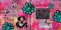 Mary C. .Nasser, Mixed Media Art Journaling. I had a ton of fun in this art journal spread! These pages are from my black cardstock Dylusions art journal and layer acrylics, white gesso, StencilGirl Products, a Rae Missigman's Art Card™ and Art-C ephemera! Tutorial on her website. ♡♡