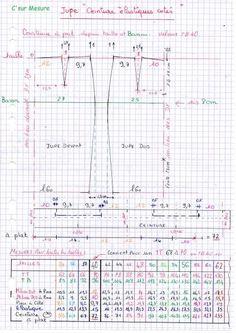 Cette jupe ce trace depuis ,les Milieux, la ligne de taille et de la ligne de bassin : les aisances sont # de la jupe de base !