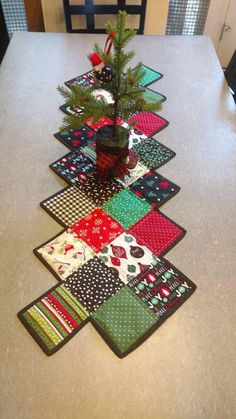 Christmas Patchwork Quilted Table Runner Ready to ship!