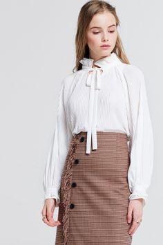 Dana Tie Pleated Blouse Discover the latest fashion trends online at storets.com #fashion #Tie #pleatedblouse #blouses #storetsonme