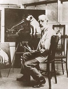 In England, artist Francis Barraud (1856-1924) painted his brother's dog  Nipper listening to the horn of an early phonograph during the winter of 1898.  Victor Talking Machine Company began using the symbol in 1900, and Nipper joined the RCA family in 1929.