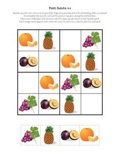 My Fruit Sudoku Puzzles challenge children's critical thinking skills while enticing them to enjoy a wonderful variety of fruits. Sudoku Puzzles, Puzzles For Kids, Worksheets For Kids, Games For Kids, Activities For Kids, Body Preschool, Preschool Learning, Preschool Printables, Free Printables