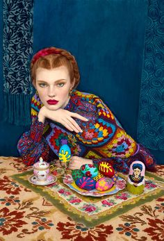"""Russian Style"" in modern interpretation; a bright crocheted cardigan, easter eggs, vintage tablecloth etc. Unmistakably Russian, indeed!  Andrey Yakovlev & Lili Aleeva"