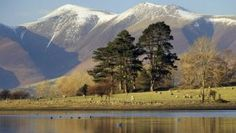 Snow capped Skiddaw looking across from Derwentwater