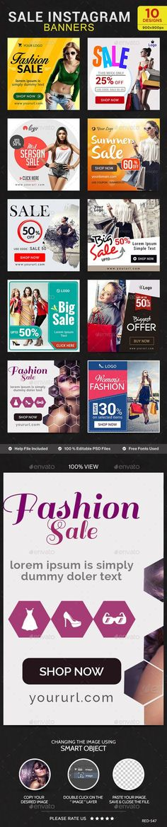 Sales Instagram Banners - 10 Templates #design Download: http://graphicriver.net/item/sales-instagram-banners-10-templates/12619016?ref=ksioks