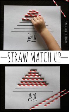 Super fun preschool math activity. Make a straw Christmas tree!