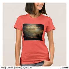 Shop Pretty Clouds T-Shirt created by LIFES_A_BEACH. Summer Sun, Wardrobe Staples, Shirt Style, Fitness Models, Shirt Designs, Clouds, Female, Pretty, Casual