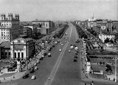 Москва. Перспектива Ленинградского проспекта. Фото 1957 г.: