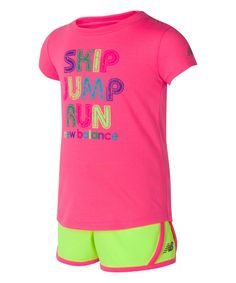 New Balance Pink 'Jump Run' Tee & Athletic Shorts - Infant, Toddler & Girls Cute Baby Girl, Cute Babies, Infant Toddler, Toddler Girls, New Balance Pink, Athletic Shorts, Active Wear, Running, Tees