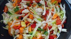 Wokban sült zöldséges csirkemell bulgurral Wok, Cobb Salad, Chicken, Bulgur, Cubs