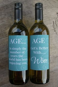 Welcome to Smart Party Planning!  This listing is for printable aged wine bottle labels.  Simply choose your favorite wine, peel off the label and add your personal aged label. These labels help make the perfect birthday gift or great to use for styling at parties.  You will receive ONE PDF file which includes 2 wine label designs. Each label is sized 12 x 8cm.  The labels read: 1: AGE...Is simple the number of years the world has been enjoying you 2: AGE Gets Better With.....Wine  The…