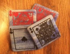 COASTERS  FUSED GLASS  White Blue with Playing Cards Design Glass Coasters, Drink Coasters, Great Novels, Table Cards, Fused Glass, Anniversary Gifts, House Warming, Glass Art, Playing Cards