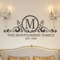 """""""Family scroll monogram"""" this unique wall decal features a personalized monogram, along with a family and established year. Vinyl lettering home decor design to splash up your space! See more about this decal here: http://www.lacybella.com/family/living-room/family-scroll-monogram/"""