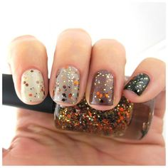 Sparkle glitter and gradient  orange and  gold. Autumn nail art