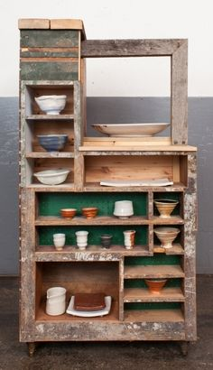 Theaster Gates Black Power Picnic 2012, wood and ceramic wares