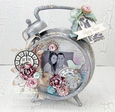 Timeless; Collage Backgrounds; Time Pieces Die-namics; Blueprints 6 Die-namics; Mini Royal Roses Die-namics; Royal Rose Die-namics; Royal Leaves Die-namics; Leaf-Filled Flourish Die-namics; First Place Award Ribbon Die-namics; Keys and Locks Die-namics; Layered Rose Die-namics; Homespun Birdhouse Die-namics - Mona Pendleton