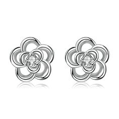 18K Gold Plated Earrings Womens Stud Earrings Hollow Flower Fashion Jewelry Epinki *** Learn more by visiting the image link.