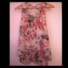 Sheer Flower Top Lightweight, flowy, and sheer flower top. It is a little longer in the back than the front. Very cute. Only worn a couple times. Perfect spring and summer top. Love Squared Tops Tank Tops
