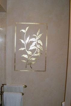Gilded Leaf Pattern on Venetian Plaster Finish in Bathroom