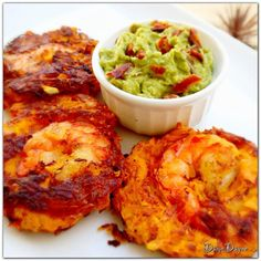 Sweet Potato Shrimp Cakes with Bacon Guacamole on the side  @The Paleo Palate