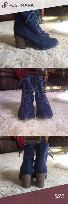 Navy Blue Suede Heeled Lace Up Booties Candie's Suede lace up booties with heels. Side zip closure. Worn twice. Originally $50. Candie's Shoes Ankle Boots & Booties