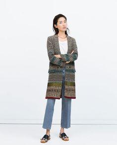 자카드 패턴 더블 브레스티드 코트-아우터-여성 | ZARA 대한민국
