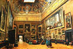 Giuseppe Castiglione, Le Salon Carré, en 1865, au Musée du Louvre, Paris, France #museology #history