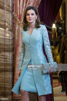 MADRID, SPAIN - APRIL Queen Letizia of Spain attends an official lunch for the 'Miguel de Cervantes Literature award at the Royal Palace on April 2018 in Madrid, Spain. (Photo by Pablo Cuadra/Getty Images) Mother Of The Bride Suits, Mother Of Bride Outfits, Mother Of Groom Dresses, Mothers Dresses, Bride Dresses, Mother Bride Dress, Mother Of The Bride Fashion, Wedding Dresses, Elegant Wedding Dress