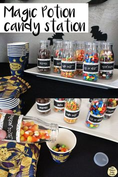 "Set up a magic potion candy station at a Halloween or Harry Potter party! FREE PRINTABLE potion bottle labels. A different candy goes in each ingredient, then guests mix their own ""potion"" blend."