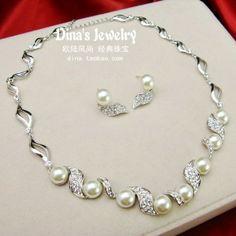die Braut accessoires strass perlenkette ohrringe set hochzeit schmuck hochzeitskleid bankett formelle kleidung schmuck