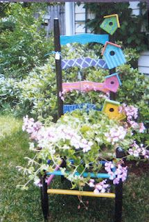 Chair Planter with birdhouses