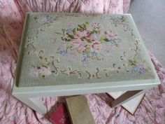 Tapestry Stool, foot stool, floral embroidered green pink stool, dressing table stool, tapestry roses, shabby chic roses, embroidered roses by NansCottageVintage on Etsy