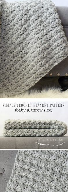 Hi friends! I recently tried out the crocheted blanket stitch and at that point understood why it's called the blanket stitch - it makes for an amazing blanket. Bet you already guessed that. ;)  If you're in need of a 'go-to' easy crocheted blanket pattern, this is a great pattern that is super simple. Today I'll share with you how to make this crocheted blanket in both a baby blanket size and a throw blanket size. The truth is though, if you learn this stitch , you c...